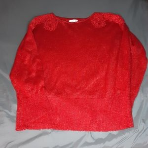 Elle red with metallic thread sweater